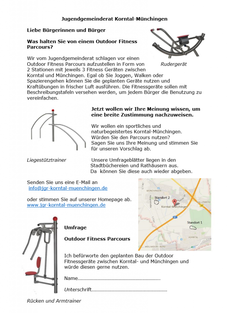 Umfrage Fitness Parcours